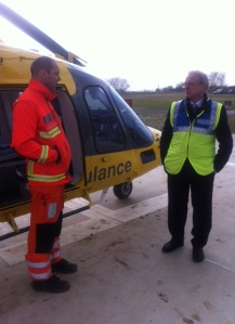 Ron meeting air ambulance pilot