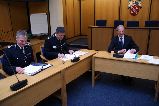 Deputy Chief Constable Neil brunton, Chief Constable Andy Parker and Warwickshire Police and Crime Commissioner Ron Ball